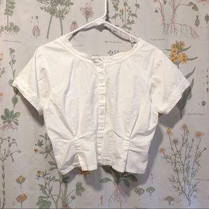 Vintage White Prairie Lace Trim Cropped Top Sz M